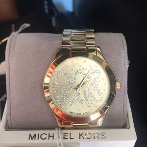 MK gold bling watch
